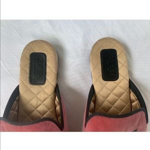 Gucci Shoes - GUCCI pink velvet /crystal snake slides/slippers